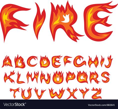 Flame alphabet Royalty Free Vector Image   VectorStock