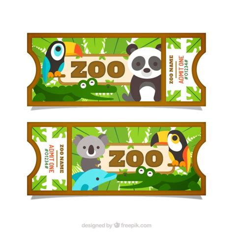 Flat pretty animals with leaves zoo tickets Vector ...