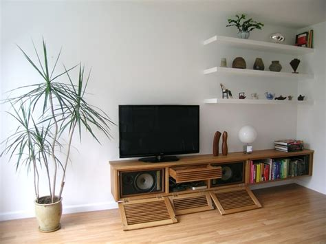 Floating Media Cabinet and Shelves   Contemporary   Living ...