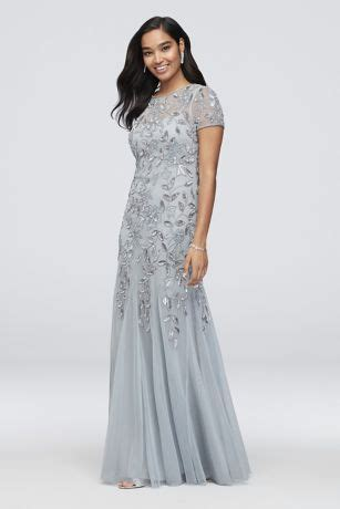 Floral Beaded Dress with Illusion Neckline | David s Bridal