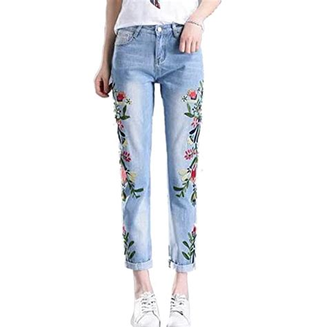 Floral Embroidered Jeans: Amazon.com