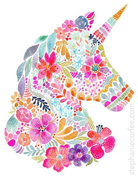 Floral SIlhouette   UNICORN   IMPRIMIR | Cuadro de ...