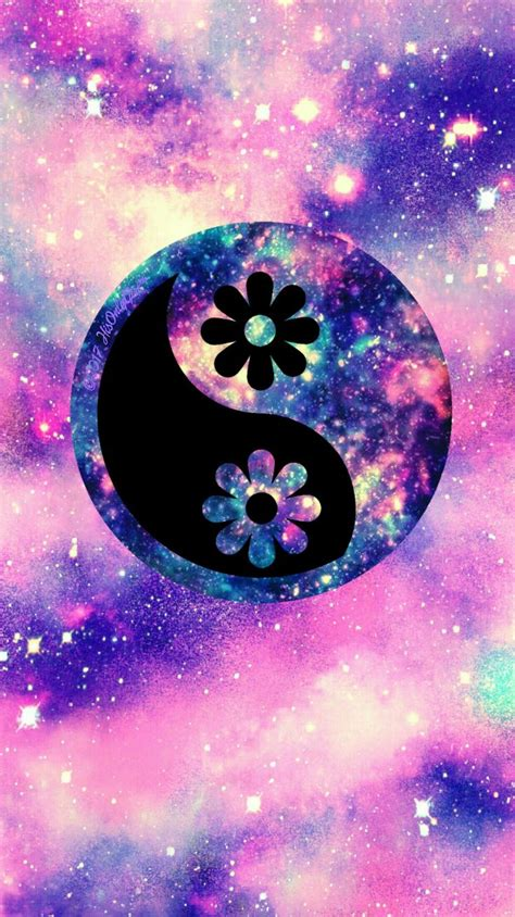 Flower yin yang galaxy wallpaper I created for the app ...