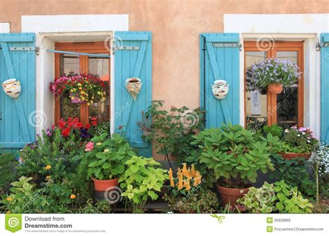 Flowers And Plants Decorating House Exterior. Stock ...