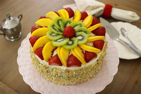 Fluffy Honey Layer Cake With Fruit and Almonds | Recipe ...