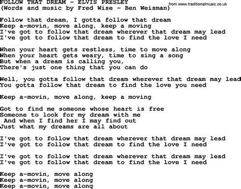 Follow That Dream by Elvis Presley   lyrics