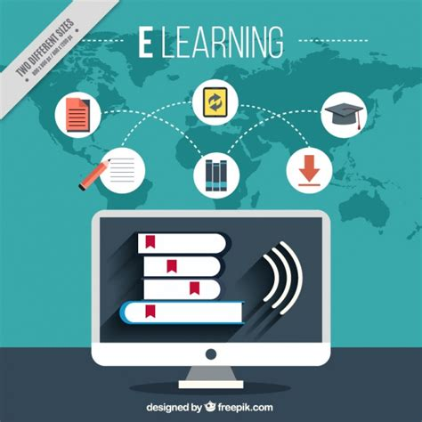 Fondo de aprendizaje online con ordenador e iconos ...