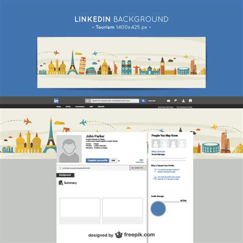 Fondo de linkedin de turismo | Descargar Vectores gratis