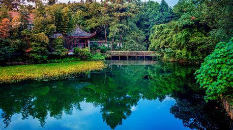 Fondos de pantalla Parque, lago, arboles, puente, casas ...