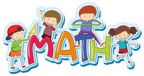 Font design for word math with happy kids   Download Free ...