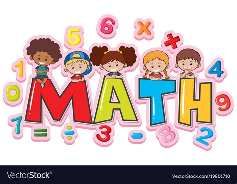 Font design for word math with happy kids Vector Image