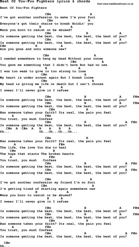 Foo Fighters   Best Of You W/ lyrics and guitar chords ...