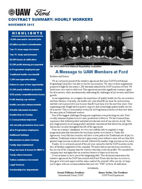 Ford UAW 2015 Contract Summary | Apprenticeship | Pension