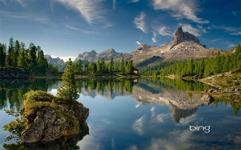 forest, Mountain, Reflection, Alps, Summer, Cabin ...