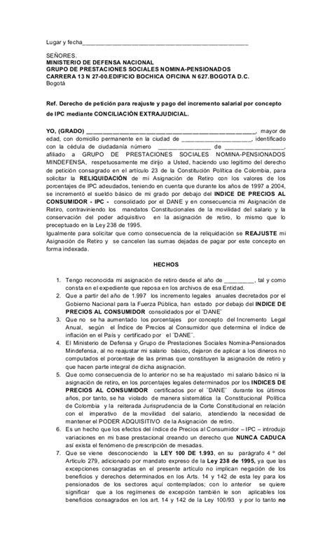 Formato derecho de peticion pensionados de las fuerzas ...