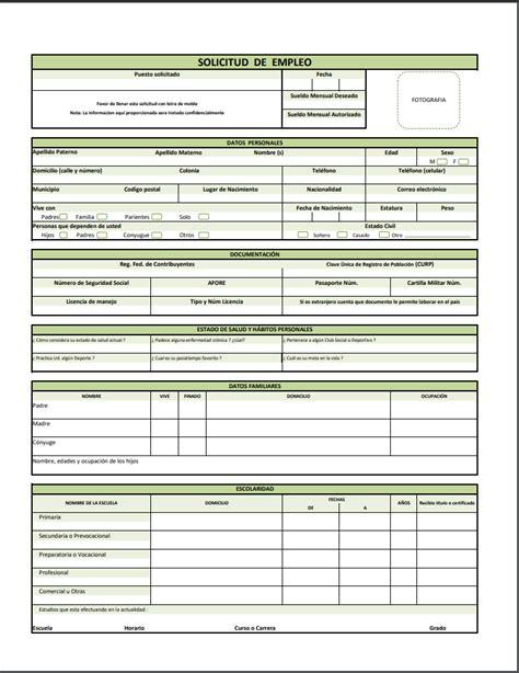Formato y Ejemplo de Solicitud de Empleo PDF | Milformatos.com
