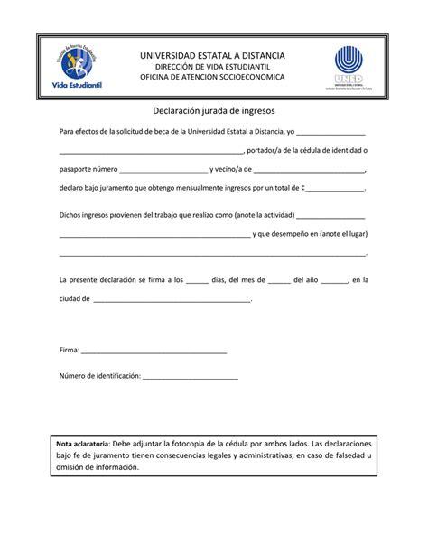 Formulario de declaración jurada de ingresos