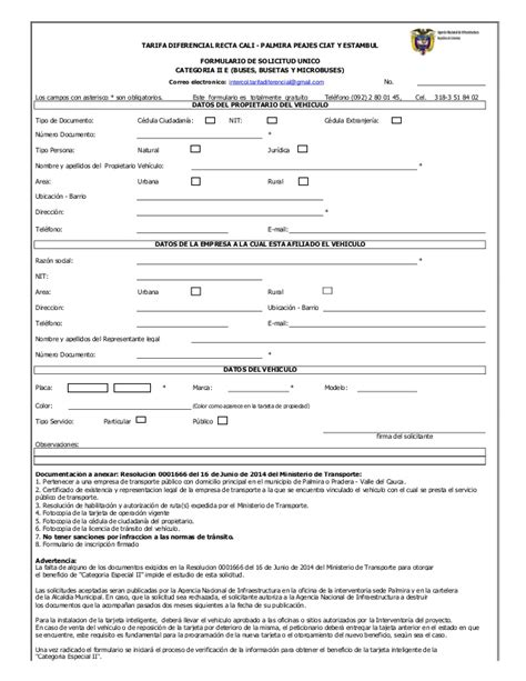 Formulario de solicitud unico tarifa diferencial categoria ...