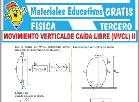 Formulas de Movimiento Vertical de Caída Libre para Tercer ...