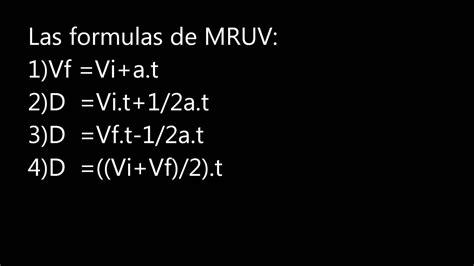 FORMULAS DE MRU Y MRUV   YouTube