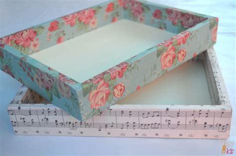 forrar cajas con papel, decorar cajas, cajas de madera ...