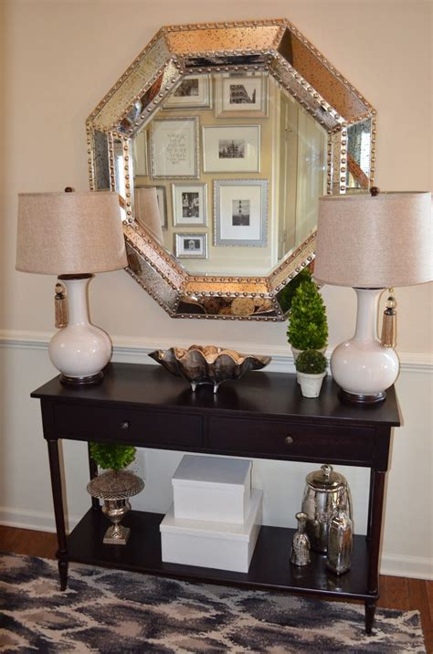 foyer decor with entryway console table and large silver ...