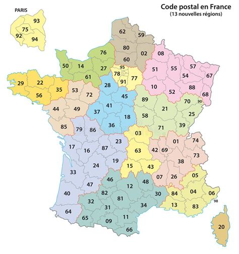 France 2 digit Postcodes Map 2017 Stock Vector ...