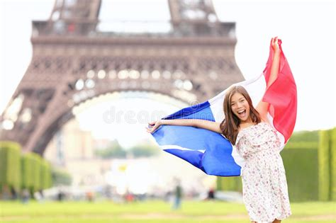 France   French Flag Woman By Eiffel Tower, Paris Stock ...