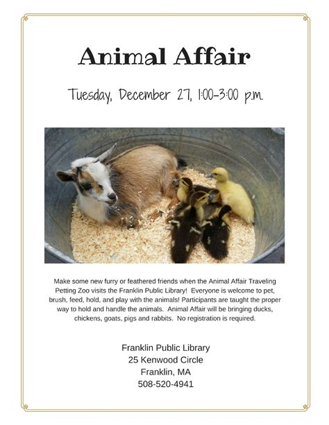 Franklin Matters: Franklin Library: Animal Affair   Dec 27 ...