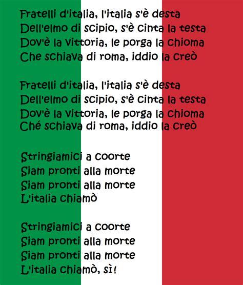 Fratelli d italia testo Inno nazionale italiano. National ...