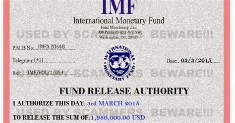 FRAUD FYI: 419 scam email with fake IMF certificate from ...