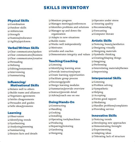 FREE 12+ Skills Inventory Templates in PDF