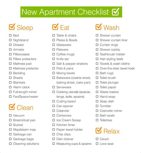 FREE 5+ New Apartment Checklist Samples in Google Docs ...