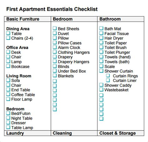 FREE 8+ New Apartment Checklist Samples in Google Docs ...