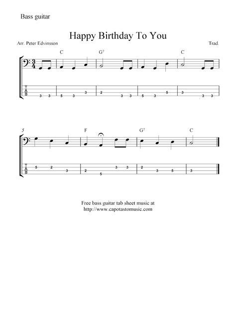 Free bass guitar tab sheet music, Happy Birthday To You