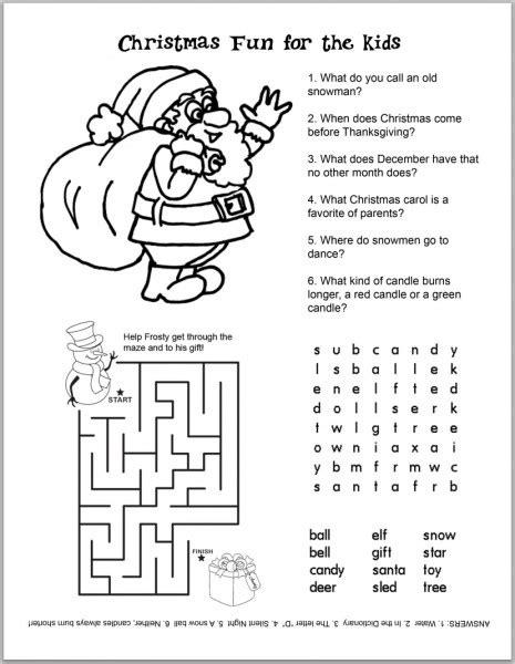 FREE Christmas Kids  Activity Sheets and Coloring Sheets ...