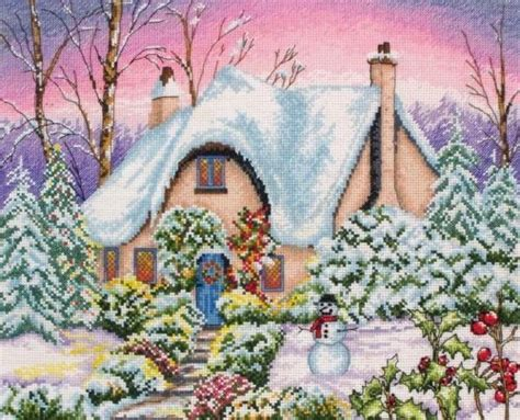 free cross stitch patterns   snowy cottage cross stitch ...
