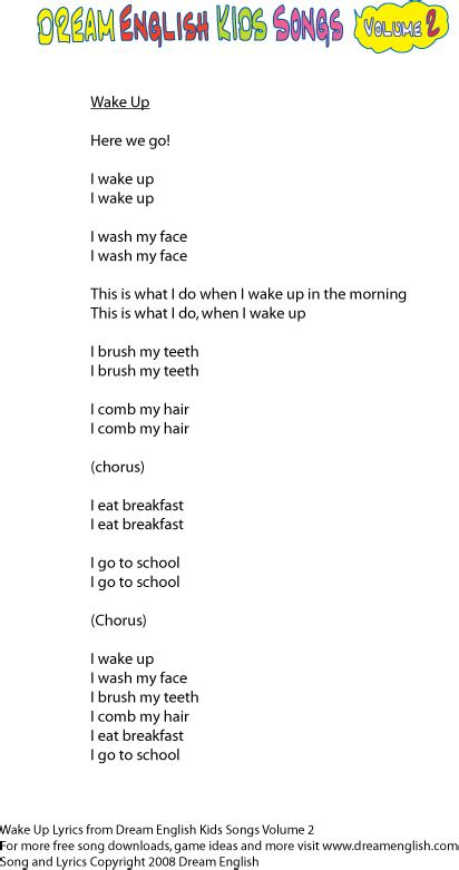 Free English Song Lyrics for kids, free mp3 downloads of ...