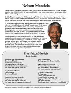 Free Nelson Mandela Worksheets   PEOPLE WHO CHANGE THE ...