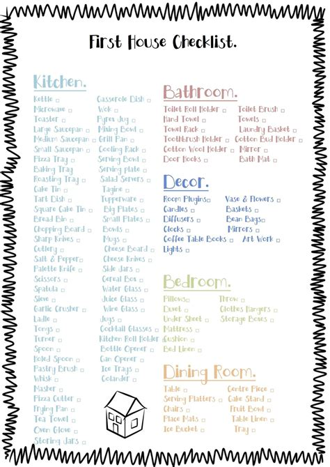 Free Printable Check List for the essentials to buy for a ...