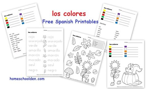 Free Spanish Worksheets for Kids: Fall Words and Colors ...