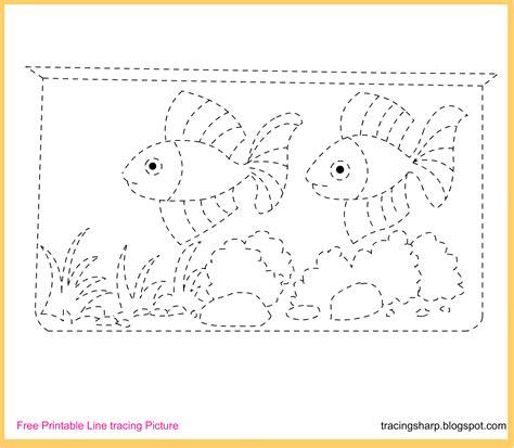 Free Tracing Line Printable: Aquarium Tracing Picture