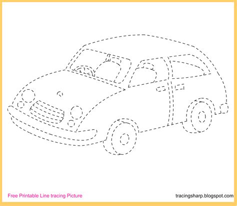 Free Tracing Line Printable: Car Tracing Picture