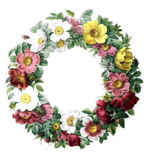 Free Vintage Clip Art   Rose Wreath   The Graphics Fairy
