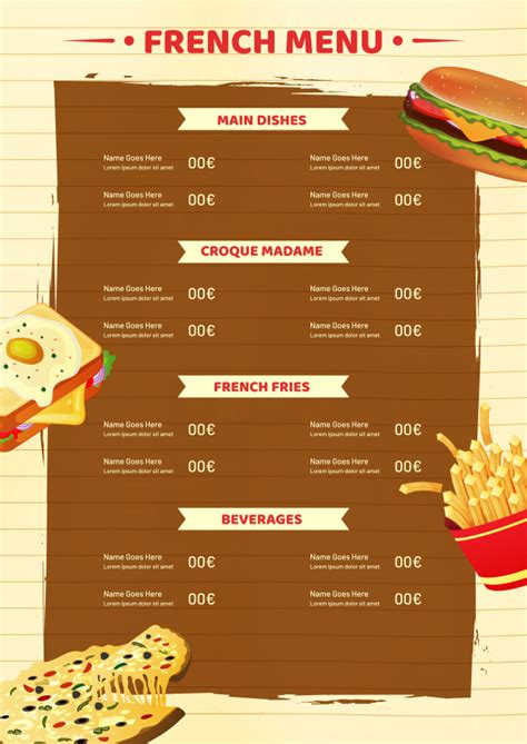 French menu card template or flyer design. Vector ...