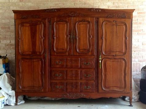 French Provincial Antique Styled Armoire Double Wardrobe ...