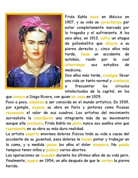 Frida Kahlo en pretérito | Teaching spanish, Learning ...