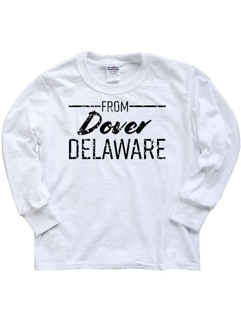From Dover Delaware in Black Distressed Text Youth Long ...
