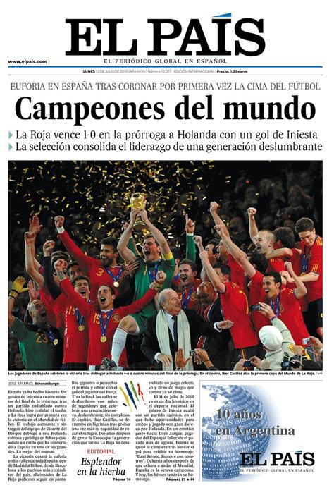 Front Page: Barcelona Win The World Cup