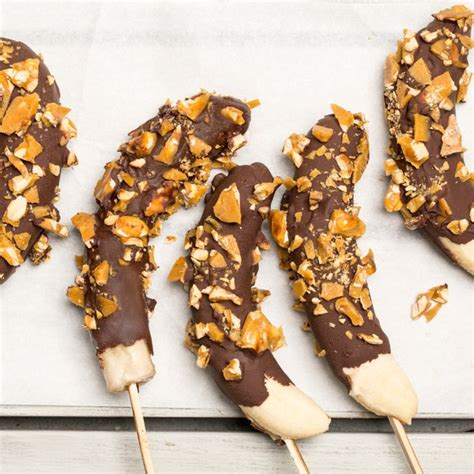 Frozen Chocolate Dipped Bananas with Peanut Brittle recipe ...